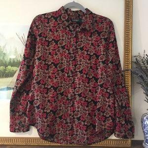 Ralph Lauren Floral Button Down Blouse Shirt Top